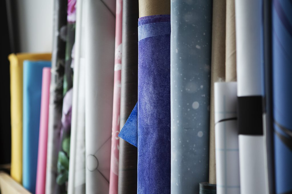 Photo des fonds colorés utilisés pour les séances